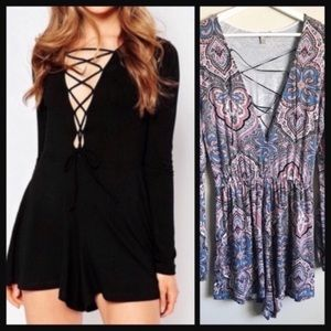 ASOS | multicolor print lace up long sleeve romper